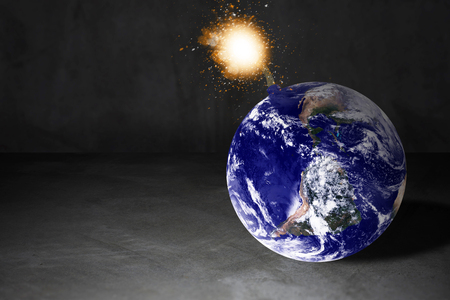 World crisis concept, the earth bomb background, Elements of this image furnished by NASA