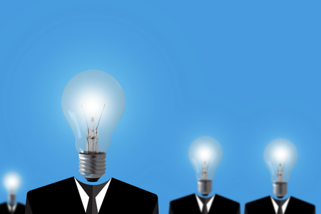 Teamwork concept, light bulb business man on blue background, group leader paper cut people