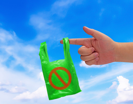 Pollution problem concept, say no to plastic bag on blue sky background Stok Fotoğraf