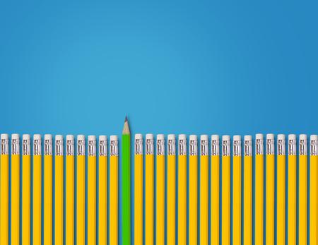 Denk verschillend concept, geel en groen potlood op blauwe achtergrond