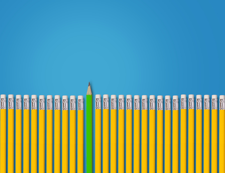 Think different concept, yellow and green pencil on blue background