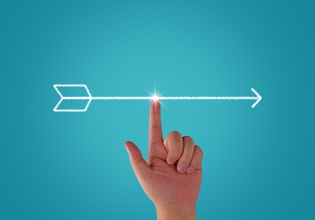 Business alignment concept, strategy and planning, hand and arrow on blue background
