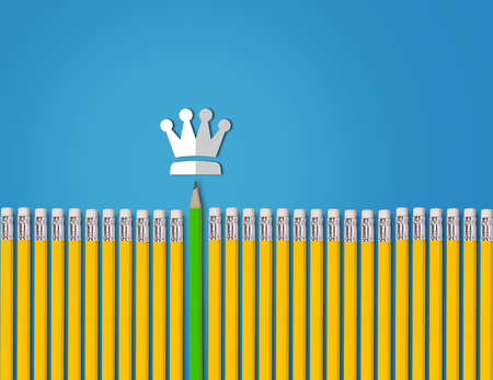 advice: Leadership concept, yellow and green pencil on blue background, business success concept