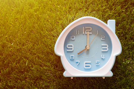 Time management concept, business planning, good morning, alarm clock on green grass background