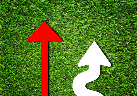 Business alignment concept, strategy and planning, red and white arrow on green grass background Stock Photo