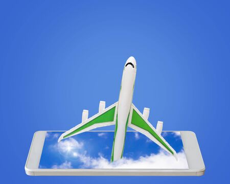 technology transaction: Travel concept, online booking, airplane and mobile phone on blue background