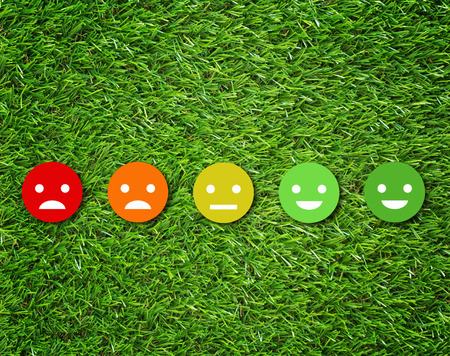 Customer experience concept, service rating on green grass background