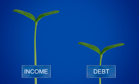 Debt and income, financial balance concept, young plant on blue background Stock Photo