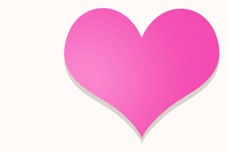 White heart frame on pink background