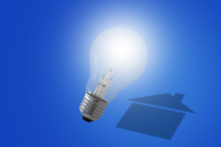 Energy concept, house shadow and light bulb on blue background, nature and ecology