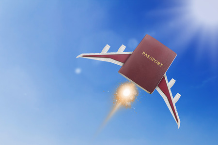 Travel concept, fly passport on blue sky background