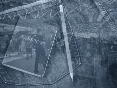 Traveling concept blur background, passport and pencil, double exposure
