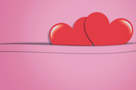 Red heart on pink vintage background with copy space, love, valentine and wedding concept