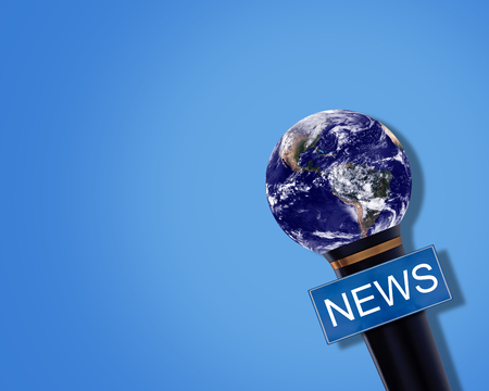 News concept, microphone on blue background, Elements of this image furnished by NASA Stok Fotoğraf