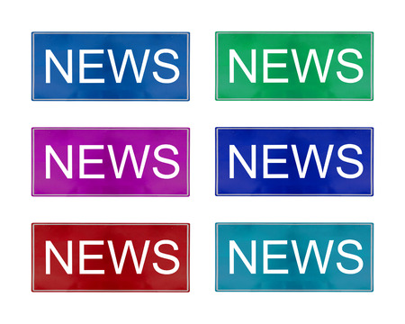 Isolate multi color news logo on white background