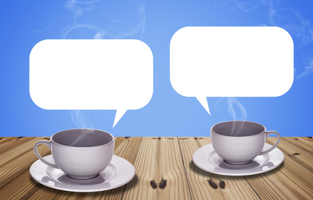 Communication concept, coffee cup on blue background, break time