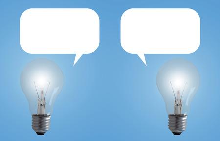 Communication concept, light bulb on blue background, share idea Stok Fotoğraf