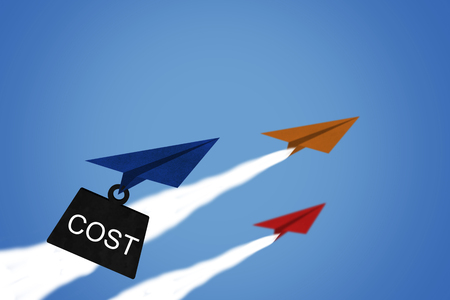 Business financial cost concept, paper plane on blue sky background Stok Fotoğraf