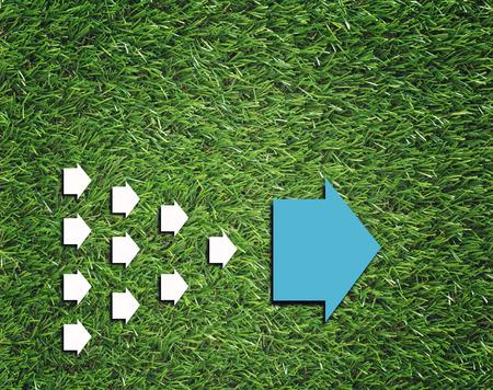 Business trends concept, group of white arrow follow big blue  arrow Stok Fotoğraf