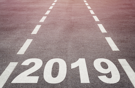 New year concept background, road to 2019, future ahead Stok Fotoğraf