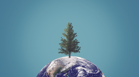 Ecology concept, green energy, trees close to extinction