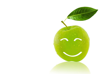 Happiness concept, smile green apple on white background Stok Fotoğraf