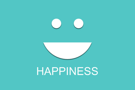 Happiness concept, white paper cut smile on green background