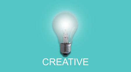 Idea and inspiration concept, business creative and innovation, light bulb on green background
