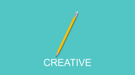 Idea and inspiration concept, business creative and innovation, yellow pencil on green background Stok Fotoğraf
