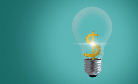 Idea and money concept, business creative and innovation, light bulb on green background