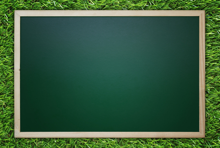 Blackboard, chalkboard on green grass background, education concept, nature and ecology
