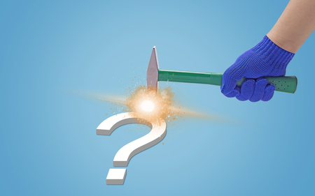 Business solution, solving problem, strategy and planning concept, hammer and question on blue background Stok Fotoğraf