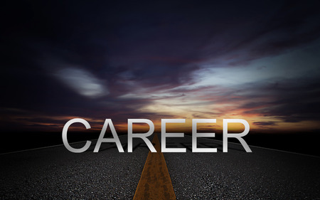 Career path concept, human resource management,  job promotion, road to success