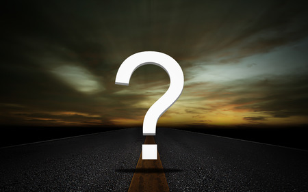 Business solution, problem concept, question on road background