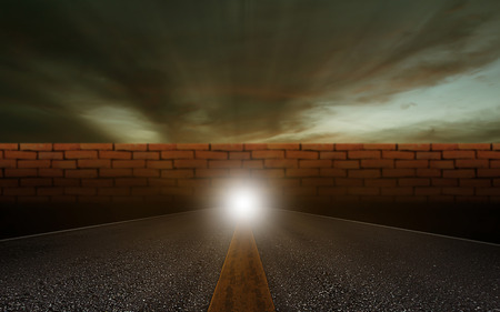 Business solution, problem concept, brick wall on road background Stok Fotoğraf