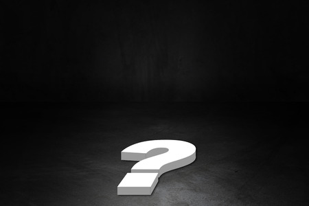 Business solution, problem concept, question on dark background