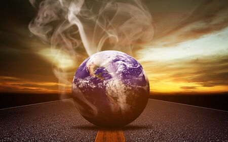 Global warming and pollution concept, the earth and smoke