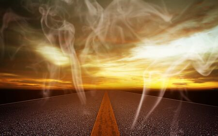 Global warming and pollution concept, the road and smoke Stok Fotoğraf