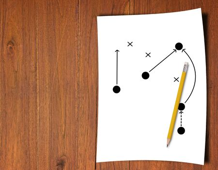 Business strategy and planning concept, pencil and direction icon on white paper background Stok Fotoğraf