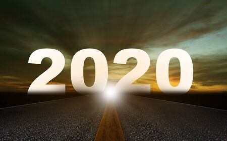 Happy new year concept background, road to 2020, future ahead