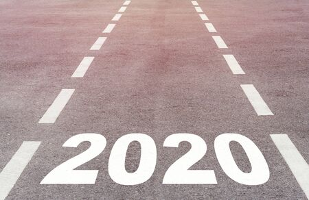 Happy new year concept background, road to 2020, future ahead Stock Photo