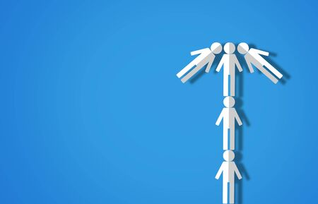 Teamwork concept, people brainstorm on blue background, group leader paper cut Stok Fotoğraf