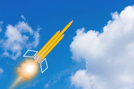 Education concept, knowledge management, yellow pencil rocket on blue sky background
