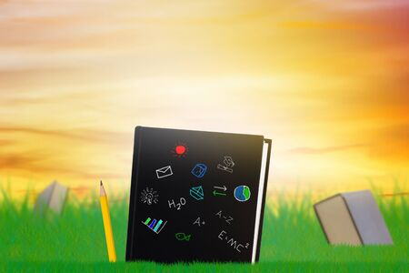 Education concept, knowledge management, books and pencil on grass background