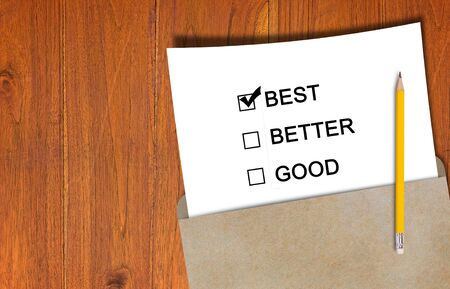 Good better best, business performance rate concept