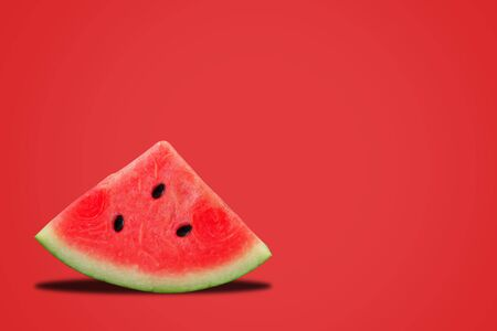 Fresh watermelon on red background, summer concept Stok Fotoğraf