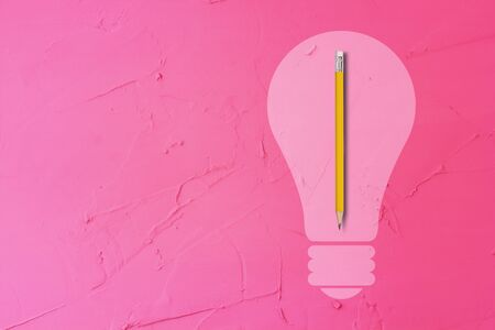Creative idea concept, light bulb and pencil on pink background Stok Fotoğraf
