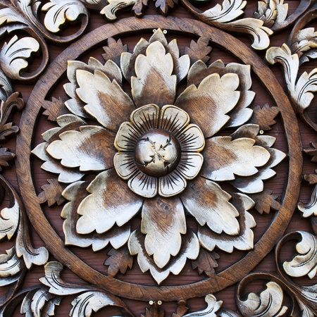 Pattern of flower carved on wood background Stock Photo - 12326602