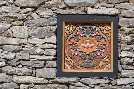 tallado en madera: Ventana de Bhután
