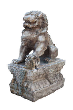 Old Chinese  Lion Statue, Isolated on white background photo